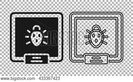 Black Colorado Beetle Icon Isolated On Transparent Background. Vector