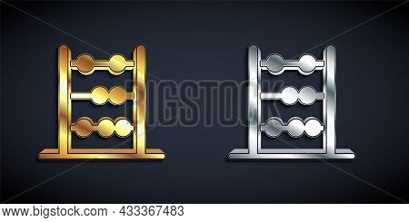 Gold And Silver Abacus Icon Isolated On Black Background. Traditional Counting Frame. Education Sign