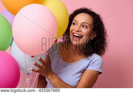 Beautiful Attractive Stunning Cheerful Woman Cute Smiling With Beautiful Toothy Smile Peeking Throug