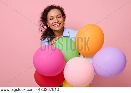 Close-up, Face Portrait Of Beautiful Stunning African American Curly Haired Woman Smiling With Tooth