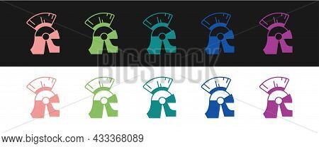 Set Roman Army Helmet Icon Isolated On Black And White Background. Vector