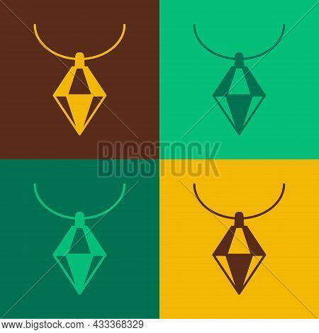 Pop Art Pendant On Necklace Icon Isolated On Color Background. Vector