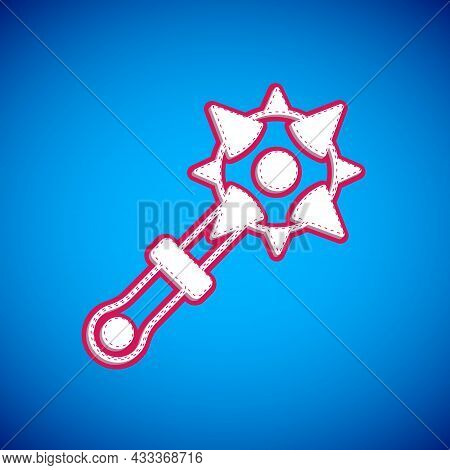 White Medieval Chained Mace Ball Icon Isolated On Blue Background. Morgenstern Medieval Weapon Or Ma