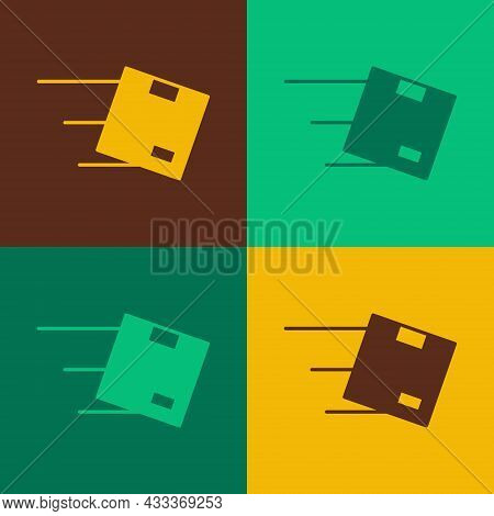 Pop Art Location With Cardboard Box Icon Isolated On Color Background. Delivery Services, Logistic A