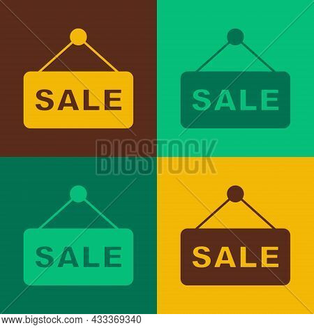 Pop Art Hanging Sign With Text Sale Icon Isolated On Color Background. Signboard With Text Sale. Vec