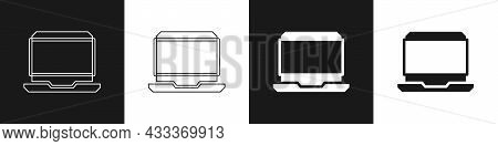 Set Laptop Icon Isolated On Black And White Background. Computer Notebook With Empty Screen Sign. Ve