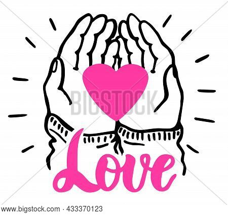 Hands Hold The Heart Heart Isolated On White Background. Valentine Day, Romantic Holiday Symbol. Cha
