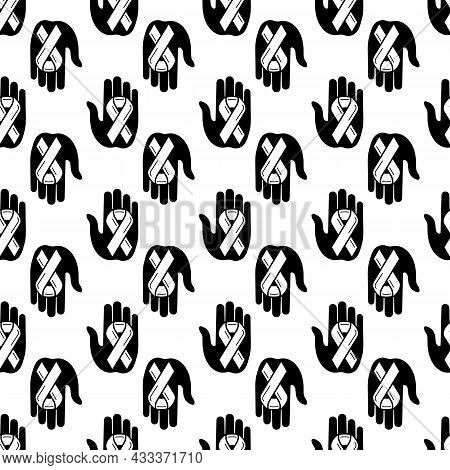 Unity Ribbon In Hand Pattern Seamless Background Texture Repeat Wallpaper Geometric Vector