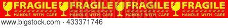 Sticker Fragile Handle With Care, Horizontal Red Fragile Warning Label, Fragile Label With Broken Gl