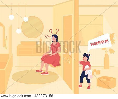 Kid Demands Attention Flat Color Vector Illustration. Mother In Restroom While Child Shouting. Home