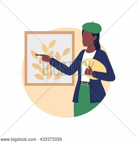 Artist Painting 2d Vector Isolated Illustration. Creative Hobby. Woman Drawing On Canvas. Gallery Ex