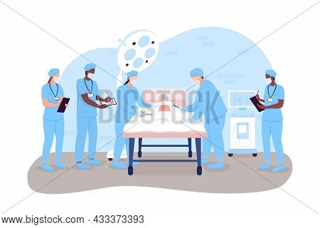 Hospital Surgery 2d Vector Isolated Illustration. Doctors And Nurses In Operation Room. Surgeons And