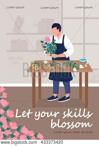 Floristry Workshop Poster Flat Vector Template. Creative Workshop. Brochure, Booklet One Page Concep