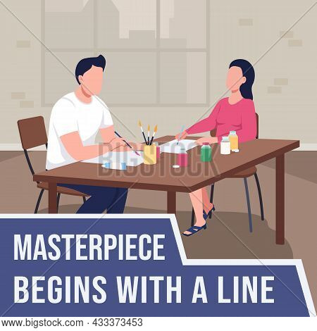 Art Class For Adults Social Media Post Mockup. Masterpiece Begins With Line Phrase. Web Banner Desig