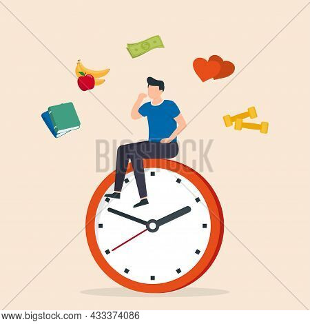 Prioritise Concept. Man Plan Their Schedule, Priority Task And Checking An Agenda. Vector Illustrati
