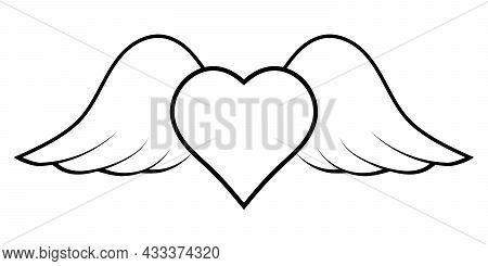 Flying Heart With Wings, A Symbol Of Cupid Bringing Love