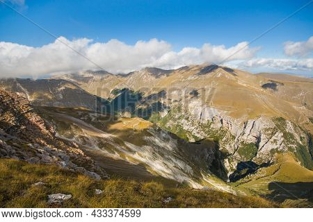 Gole Dell'infernaccio View From The Peak Of Monte Sibilla In The National Park Of Monti Sibillini, M