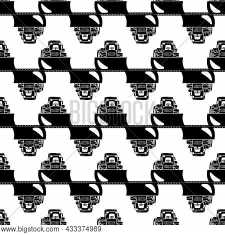 Tractor Bulldozer Pattern Seamless Background Texture Repeat Wallpaper Geometric Vector