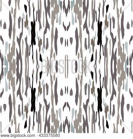 Spots, Ikat. Tie Dye, Batik. Seamless Pattern. Geometric Surface. Hand Drawn Painted. Black Gray Anc