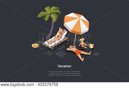 Isometric Illustration In Cartoon 3d Style. Vector Composition On Dark Background. Vacation Concept.