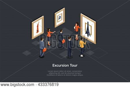 Conceptual Illustration. Vector Isometric Composition, Cartoon 3d Style. Excursion Tour Ideas. Group
