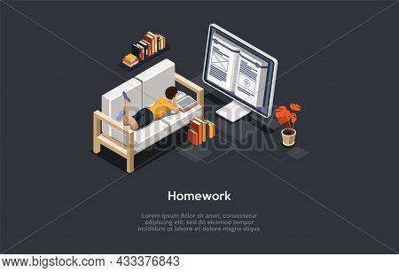 Conceptual Illustration. Vector Isometric Composition, Cartoon 3d Style. Homework And Education Idea