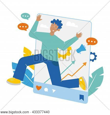 Successful Social Media Influencer, Blogger. Vector Flat Illustration For Successful Blogger Concept