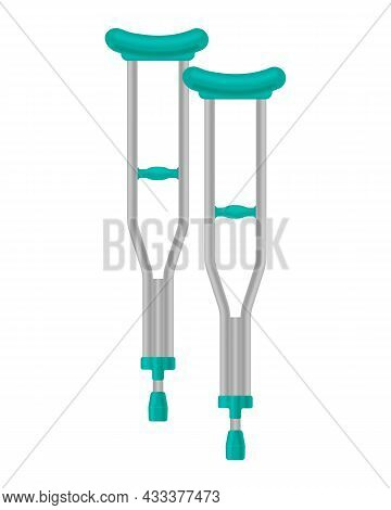 Crutches For People With Injuries Of The Musculoskeletal System. Orthopedic Crutches For Leg Fractur