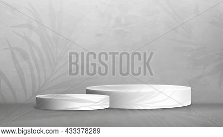 Studio Room With White Podium On Grey Concrete Floor And Palm Leaves On Gray Cement Wall Texture Bac