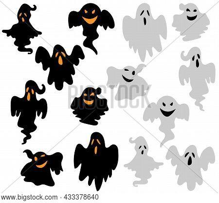 Set Of Halloween Ghosts. Hand-drawn Vector Illustration For Halloween