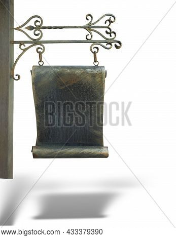 Copper Forged Arrow Street Bronze Signpost Isolated Over White