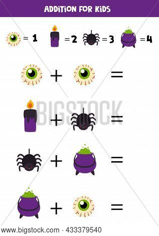 Addition With Different Halloween Elements. Educational Math Game For Kids.