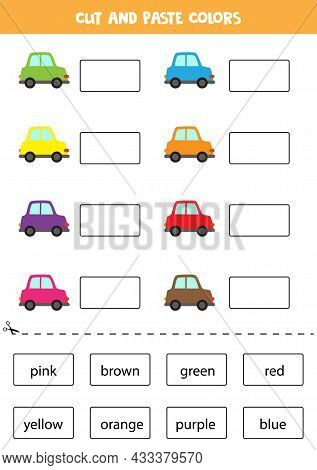 Cut And Paste Names Of Colors. Educational Worksheet For Learning Colors.