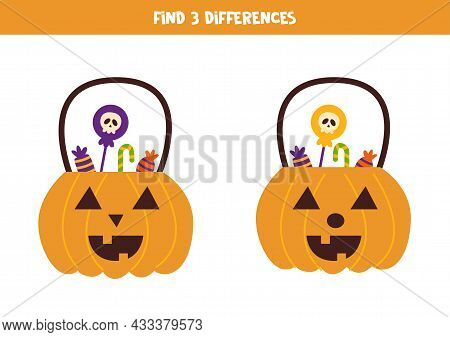 Find Three Differences Between Two Pictures Of Halloween Lantern.