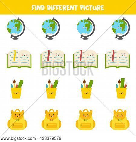 Find Different School Supply In Each Row. Logical Game For Preschool Kids.