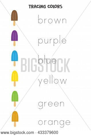Trace The Names Of The Colors. Handwriting Practice For Preschool Kids.