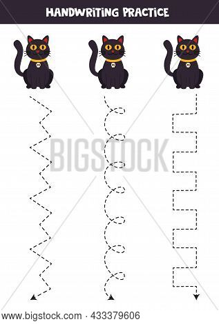 Tracing Lines For Kids With Cute Black Cat. Handwriting Practice.