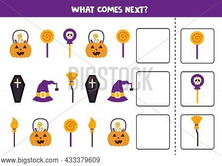 What Comes Next Game With Halloween Elements. Educational Logical Game For Kids.