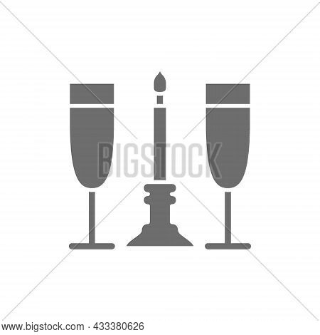 Two Glasses With Candle, Romance Grey Icon.
