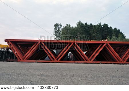 Steel Metal Structures On The Internal Territory Of An Industrial Enterprise. Warehousing Of Trusses