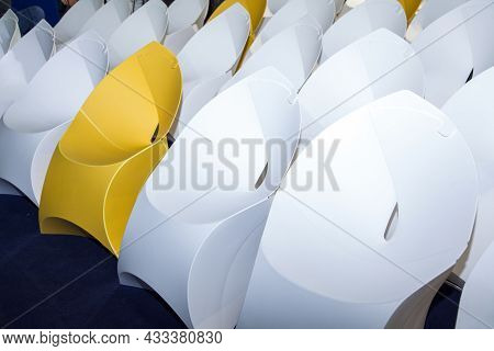 Rows Of White And Yellow Creative Paper Seat Place, Closeup