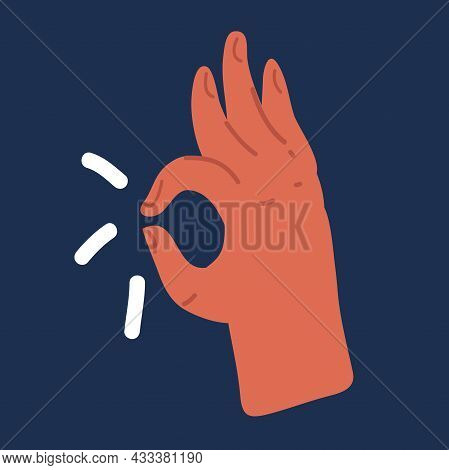 Vector Illustration Of Ok Hand Symbol Over Dark Backround.