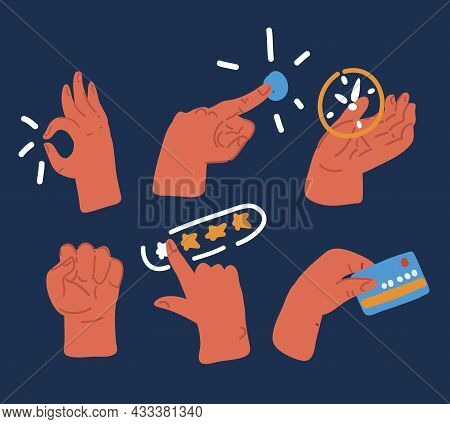 Vector Illustration Of Human Hands Set. Ok, Clock, Push Button, Rating, Fist, Hand With Credit Card
