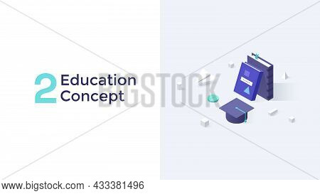 Books, Graduation Cap And Paper Plane On Desk Surface. Concept Of Academic Degree, Science, School,