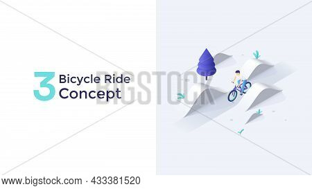 Man Cycling Or Sportsman Riding Bicycle Among Hills. Concept Of Bicycling, Biking, Outdoor Sports Tr