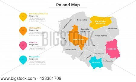 Poland Map Divided Into Federal States. Territory Of Country With Regional Borders. Polish Administr