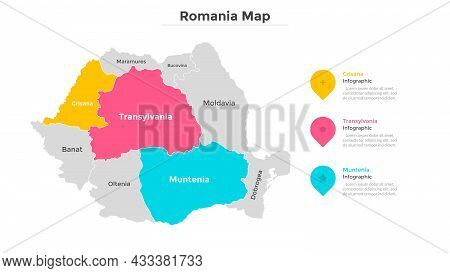 Romania Map Divided Into Federal States. Territory Of Country With Regional Borders. Romanian Admini