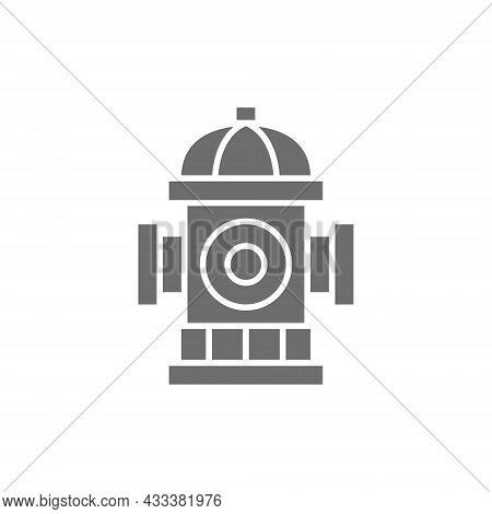 Fire Hydrant, Firefighting Equipment Grey Icon. Isolated On White Background