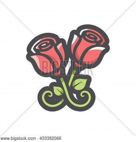 Metal Forged Roses Vector Icon Cartoon Illustration