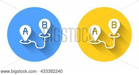 White Route Location Icon Isolated With Long Shadow Background. Map Pointer Sign. Concept Of Path Or